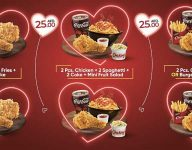 Dh25 Chicking meals for two on Valentine's Day