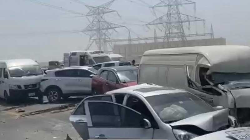 At the scene of the vehicle pile-up in Dubai on May 3, 2021.