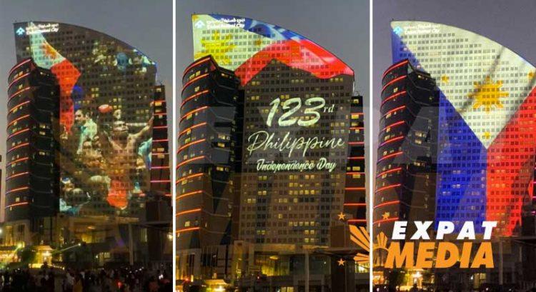 Philippine flag, Pacquiao, Filipino landmarks displayed in Dubai