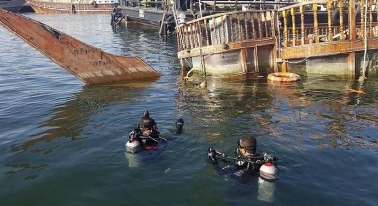 Sunken dhow ship recovered from Dubai Creek