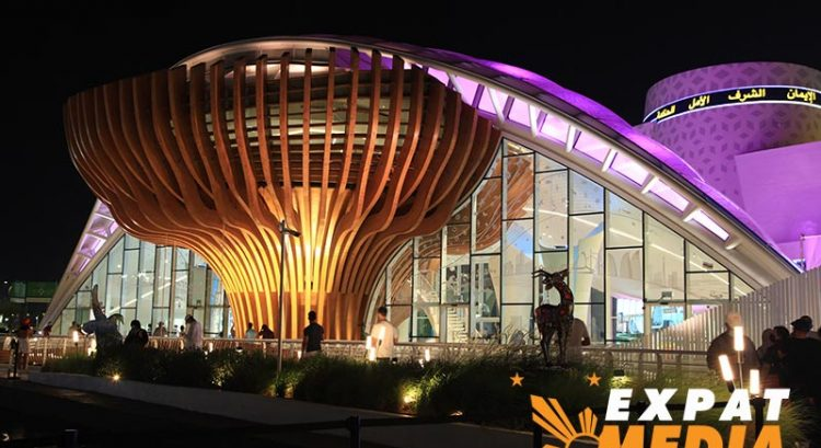 Giant tree and leaf at Azerbaijan pavilion at Expo 2020: pictures